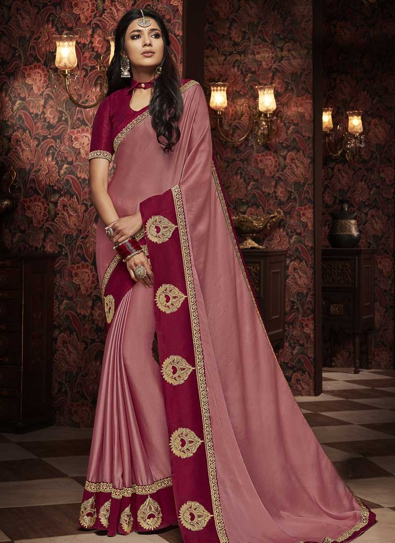 Crimson and Pink Designer Contemporary Style Saree
