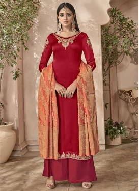 Crimson and Red Embroidered Work Palazzo Style Pakistani Salwar Suit
