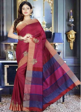 Crimson and Rose Pink Art Silk Designer Contemporary Style Saree