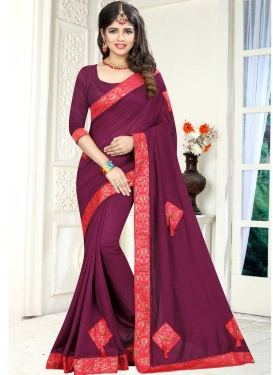 Crimson and Rose Pink Lace Work Traditional Saree