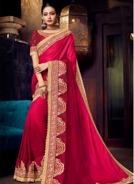 Crimson and Rose Pink Satin Silk Contemporary Style Saree