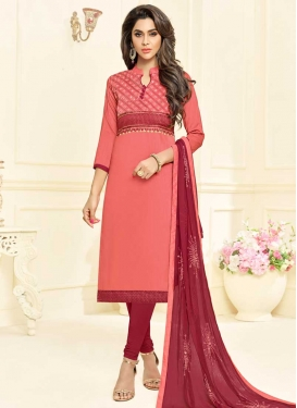 Crimson and Salmon Cotton Churidar Suit