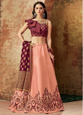 Crimson and Salmon Embroidered Work Designer Lehenga Choli