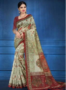 Crimson and Sea Green Cotton Silk Trendy Classic Saree