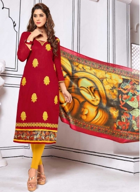 Crimson and Yellow Embroidered Work Trendy Straight Suit