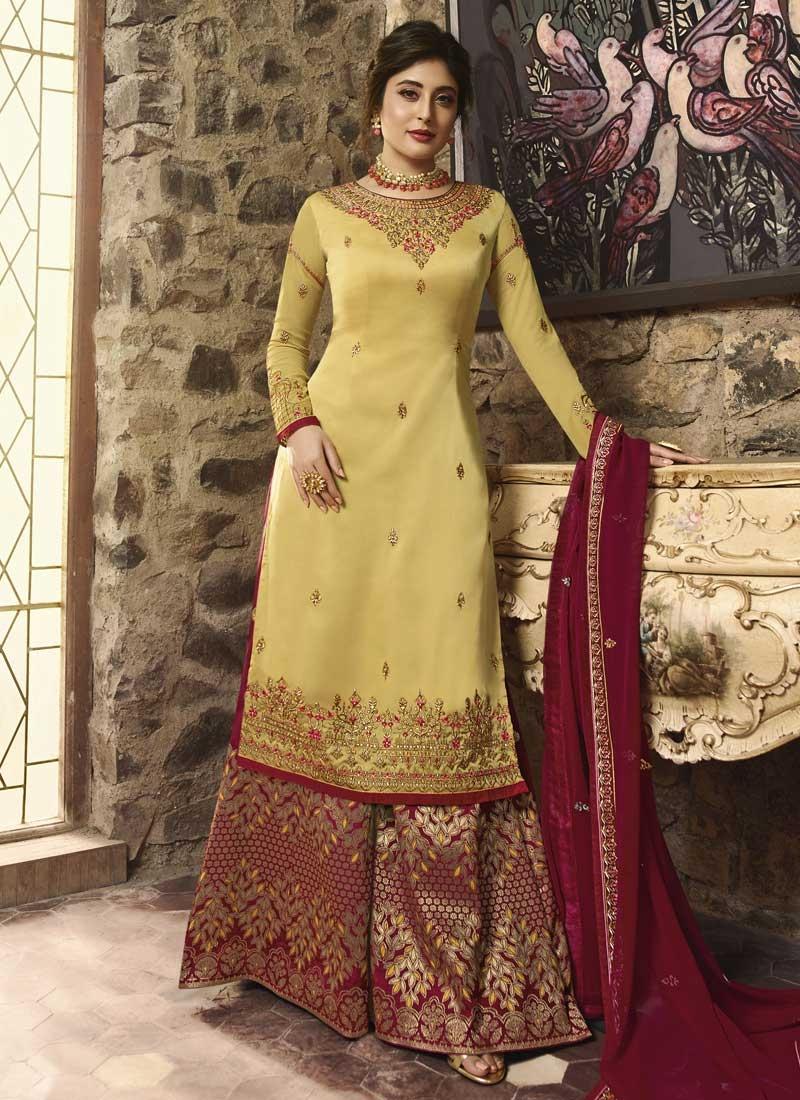 Crimson and Yellow Palazzo Style Pakistani Salwar Suit