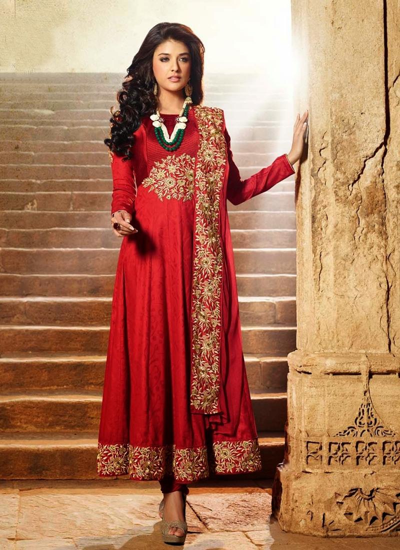 Crimson Color Resham Work Anarkali Suit