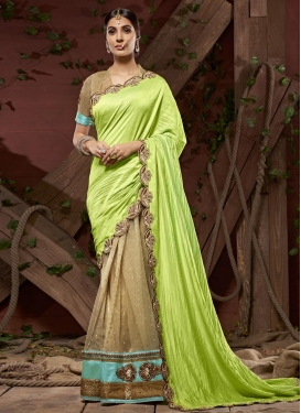 Crush Beads Work Designer Half N Half Saree