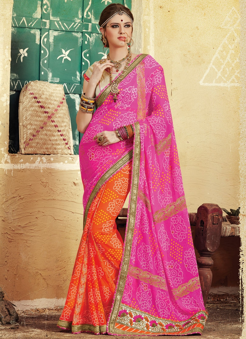 Customary Bandhej Print And Beads Work Half N Half Party Wear Saree