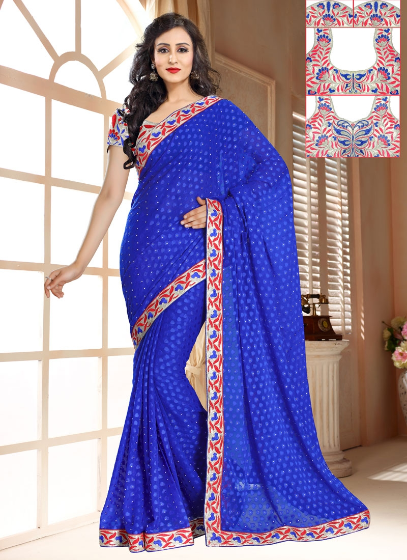 Customary Blue Color Stone Work Casual Saree