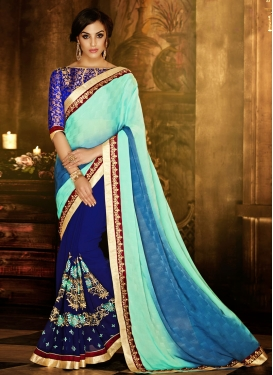 Customary Booti Work Jacquard Half N Half Party Wear Saree