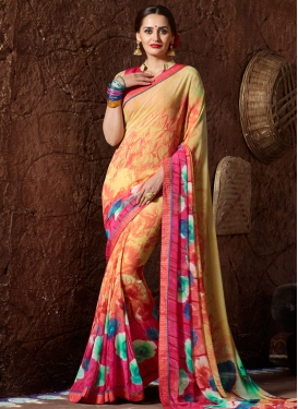 Customary Digital Print Work Faux Georgette Saree For Casual