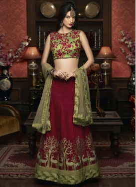 Customary Embroidered Work Art Silk A - Line Lehenga