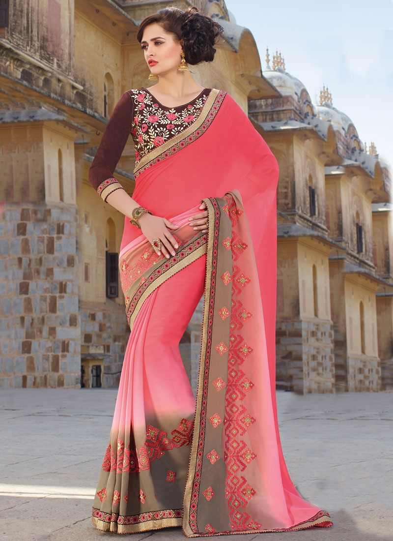 Customary Embroidery And Lace Work  Party Wear Saree