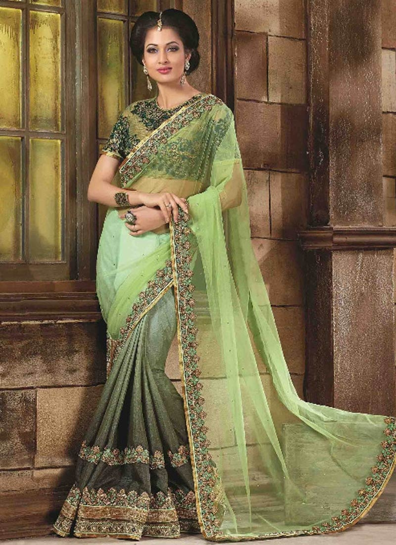 Customary Fancy Fabric And Net Half N Half Designer Saree