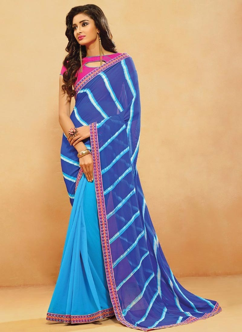 Customary Faux Georgette Blue Color Half N Half Casual Saree