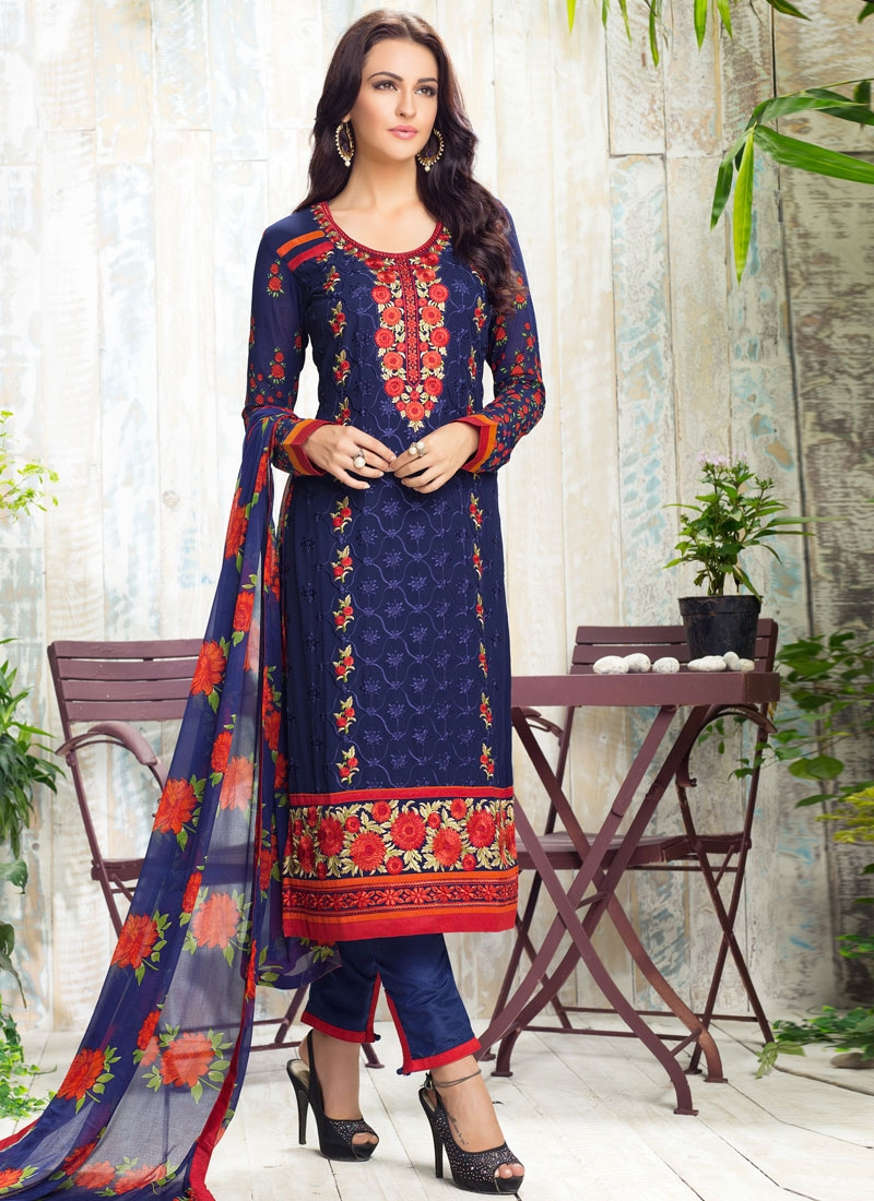 Customary Faux Georgette Pant Style Party Wear Salwar Kameez