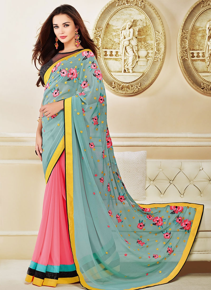 Customary Floral Work Amy Jackson Half N Half Party Wear Saree