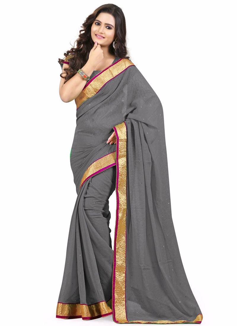Customary Grey Color Resham Work Casual Saree