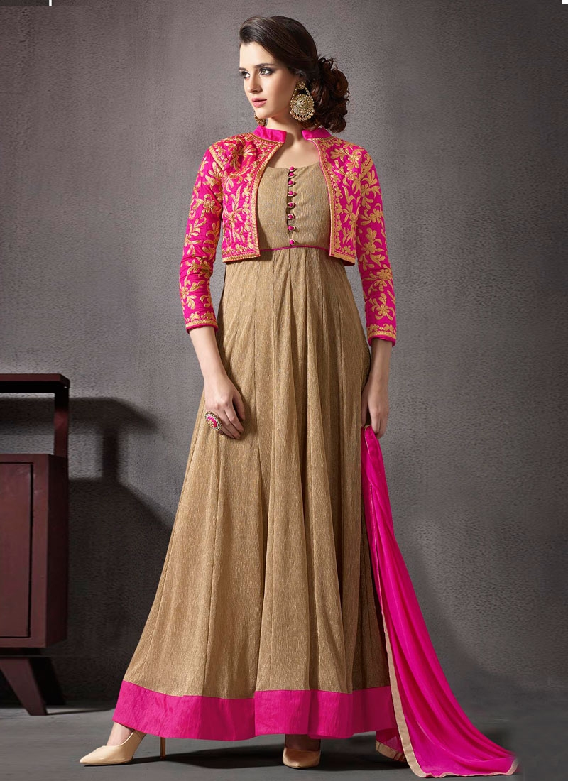 Customary Lycra Jacket Style Anarkali Salwar Kameez