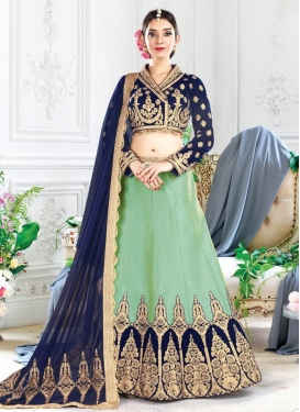 Customary Mint Green and Navy Blue  A - Line Lehenga