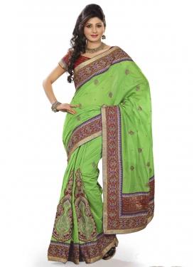 Customary Mint Green Color Stone Work Designer Saree