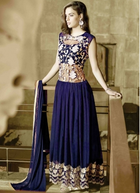 Customary Navy Blue Color Long Length Designer Suit