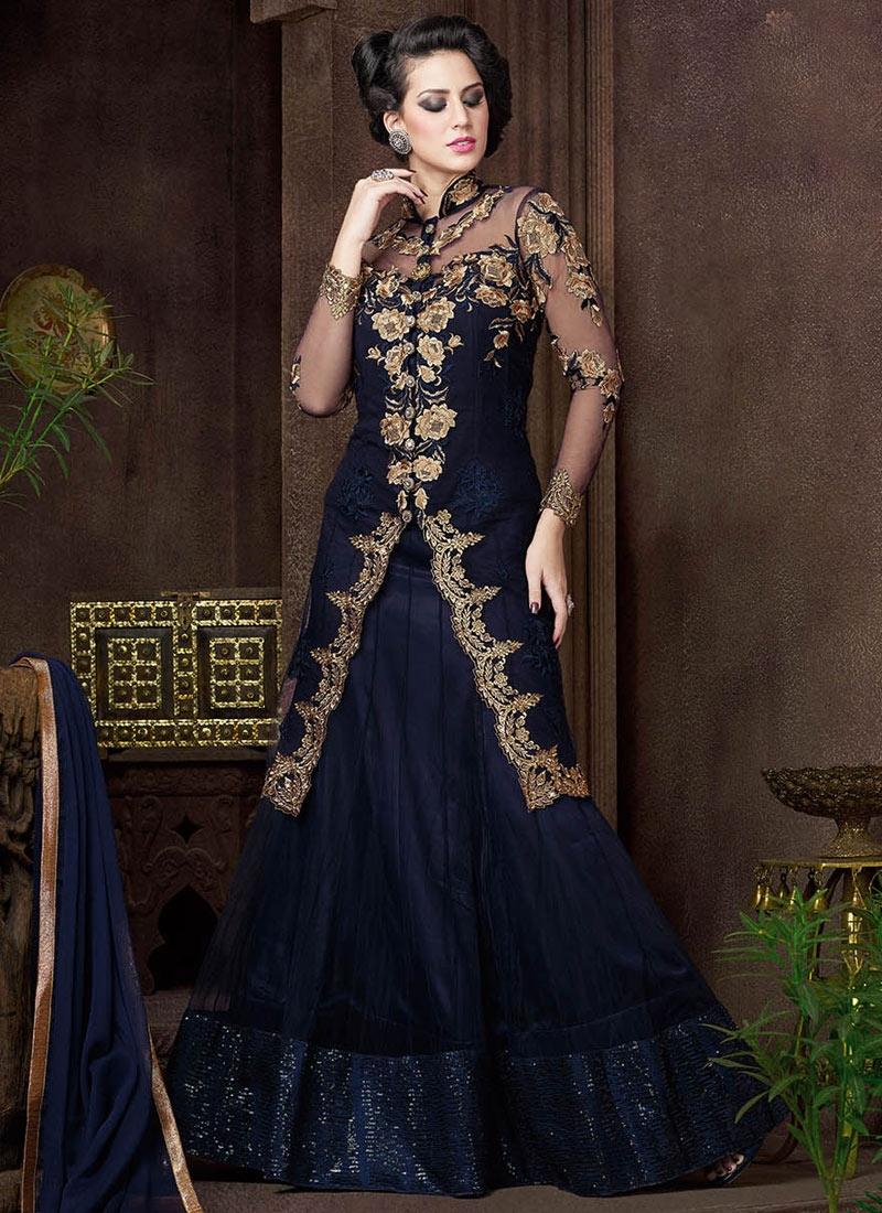 Customary Navy Blue Color Net Designer Lehenga Choli