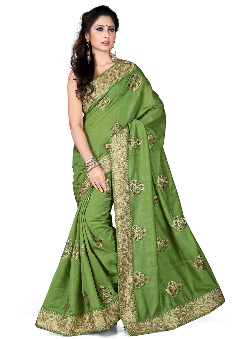 Customary Olive Color Stone Work Designer Saree