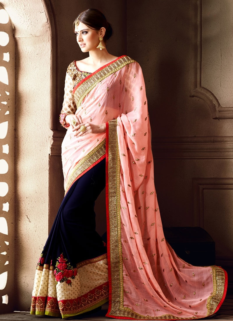 Customary Patch Border And Floral Work Half N Half Wedding Saree