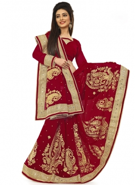 Customary Pure Georgette Resham Work Wedding Saree