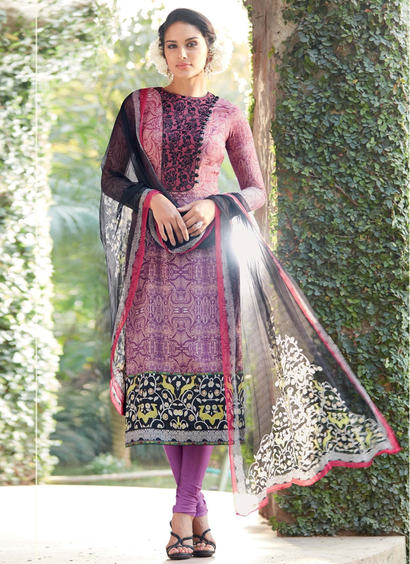 Customary Purple Color Churidar Salwar Kameez