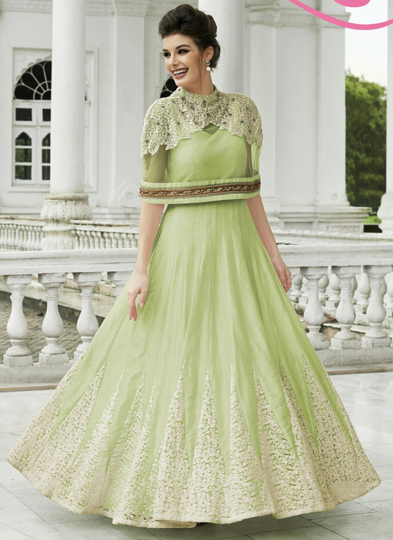 Customary Raw Silk And Net Ankle Length Designer Suit