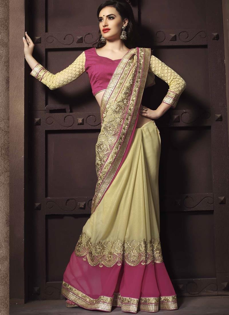 Customary Resham And Stone Work Designer Saree