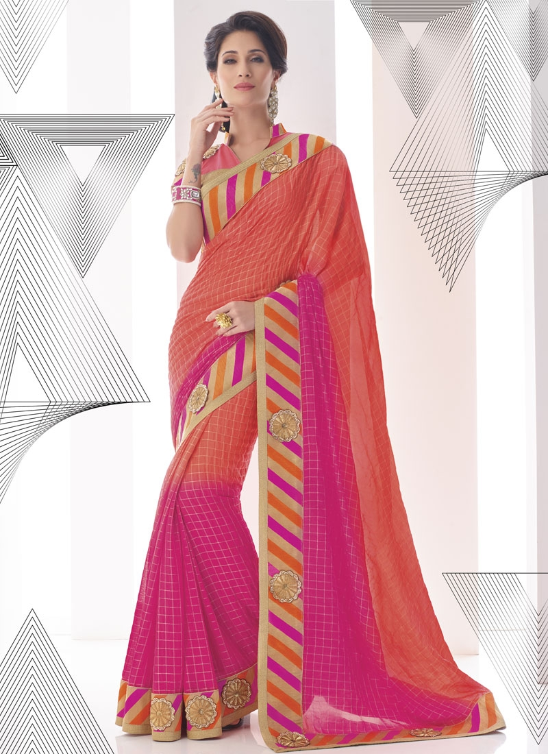 Customary Salmon Color Stone Work Party Wear Saree