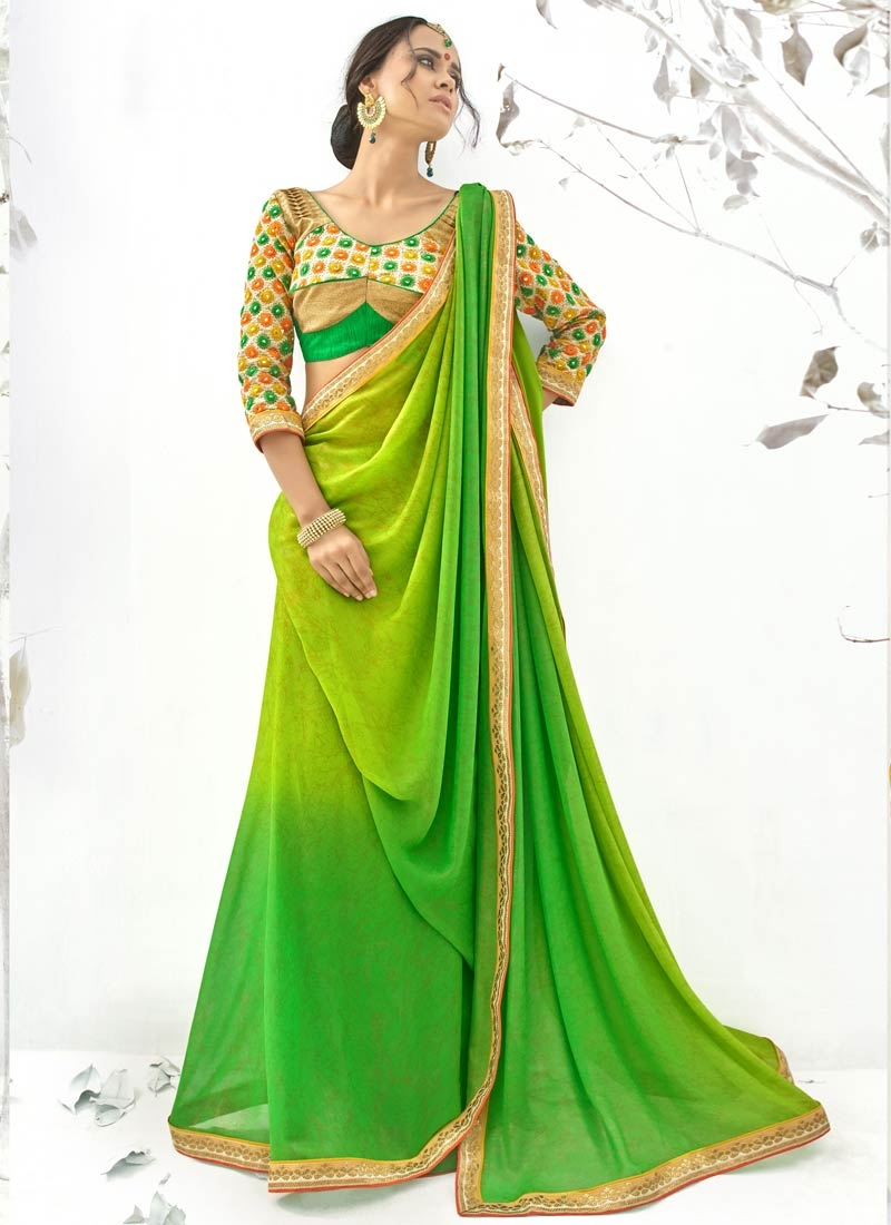 Customary Shimmer Georgette Party Wear Saree