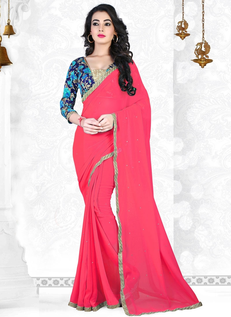 Customary Stone Work Faux Georgette Casual Saree