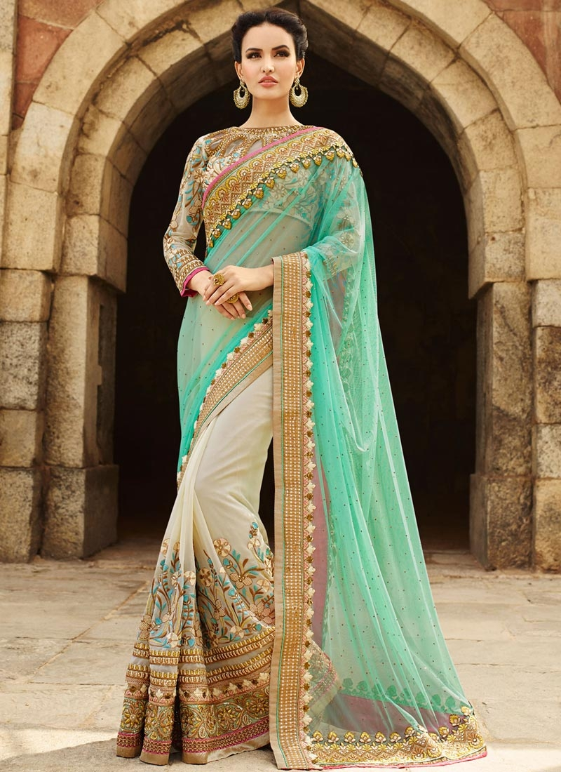 Customary Stone Work Net Half N Half Bridal Saree
