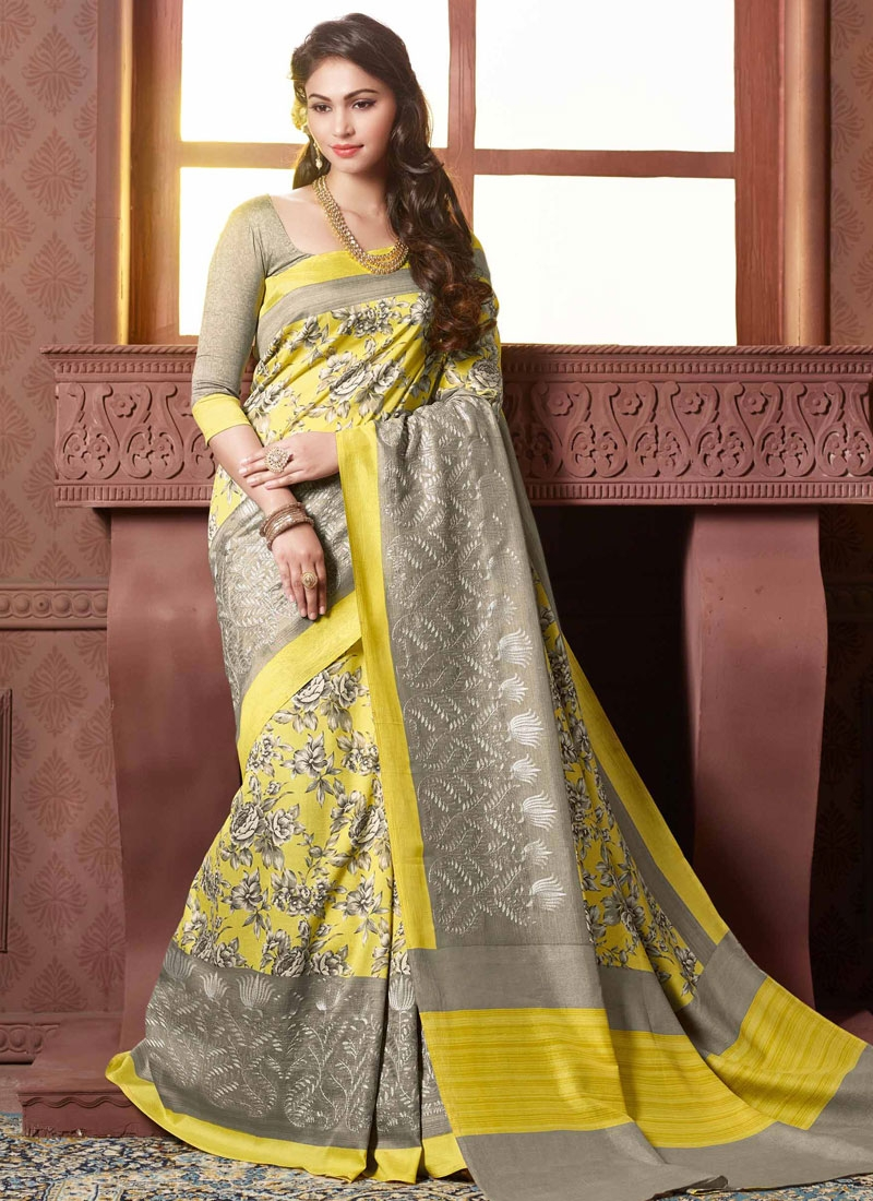 Customary Yellow Color Resham Work Party Wear Saree