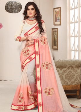 Cutdana Work Beige and Salmon Classic Saree