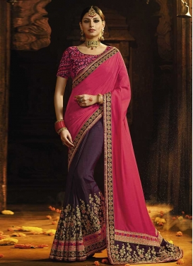 Cutdana Work Rose Pink and Wine Half N Half Trendy Saree