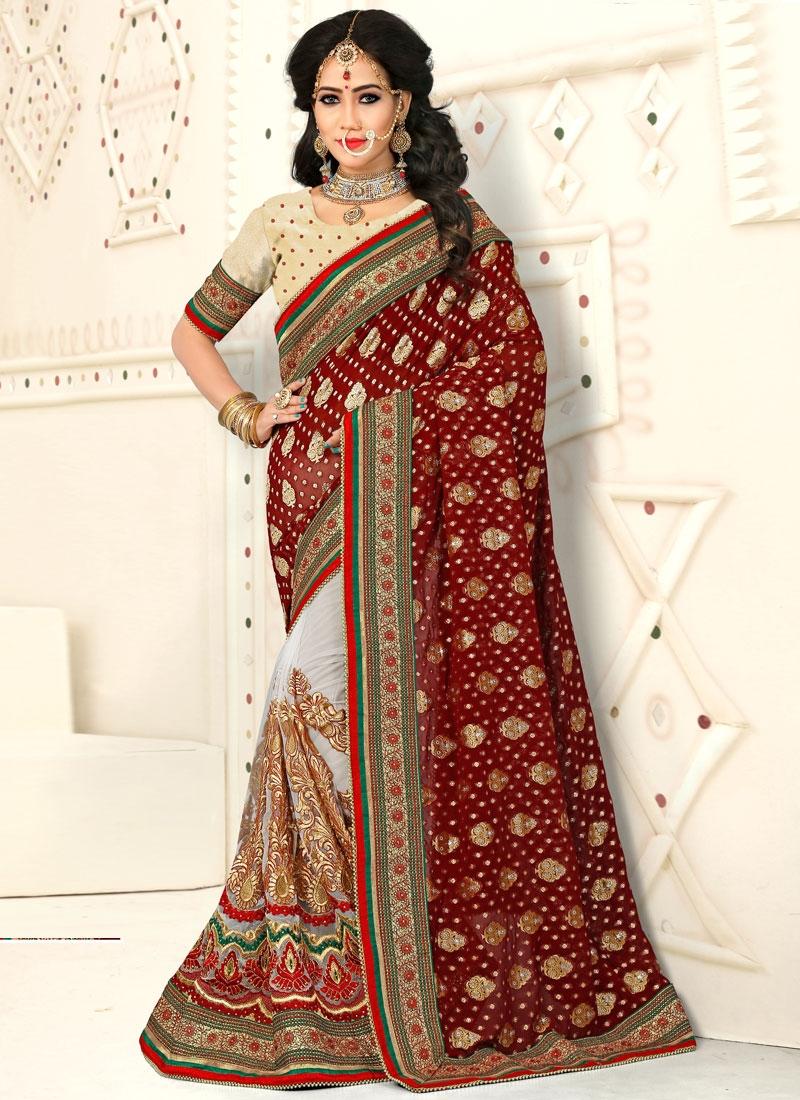 Buy Cute Beads Work Jacquard Maroon Half N Half Designer Saree For Bridal Online