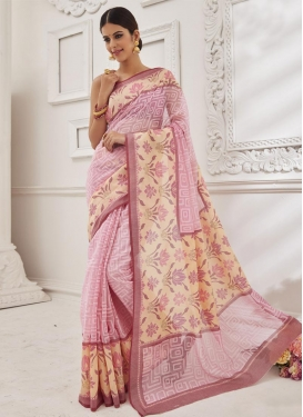 Cute Brasso Georgette Cream and Pink Traditional Saree