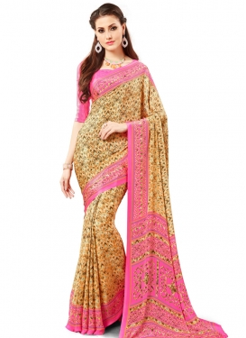 Cute Crepe Silk Cream and Pink Trendy Classic Saree For Casual