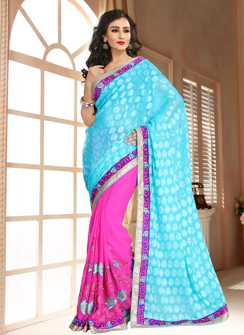 Cute Faux  Chiffon Stone Work Half N Half Party Wear Saree
