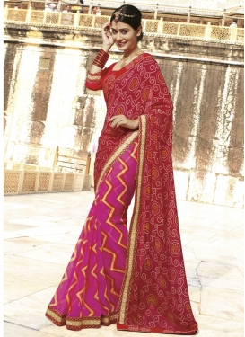 Cute Fuchsia and Maroon Bandhej Print Work Half N Half Designer Saree