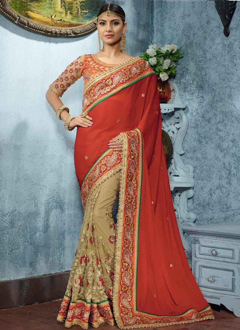 Cute Lace And Stone Work Half N Half Wedding Saree