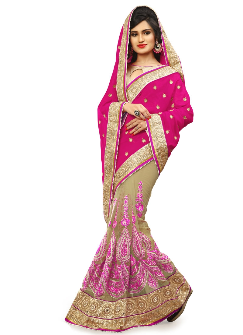 Cute Mirror Work Net Half N Half Wedding Saree