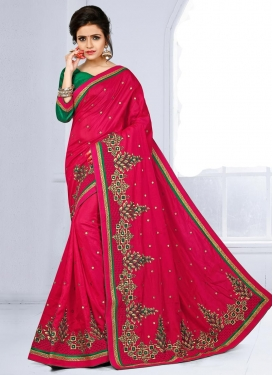 Cute Silk Green and Rose Pink Trendy Classic Saree For Festival