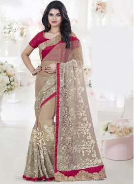 Dainty Beige and Crimson Pure Georgette Classic Designer Saree